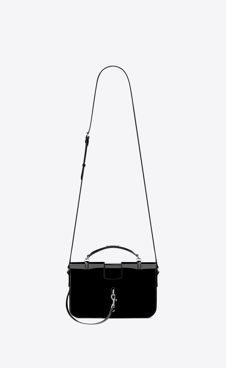 Saint Laurent Medium CHARLOTTE Messenger Bag In Black Patent ... ec1b56f4433e2