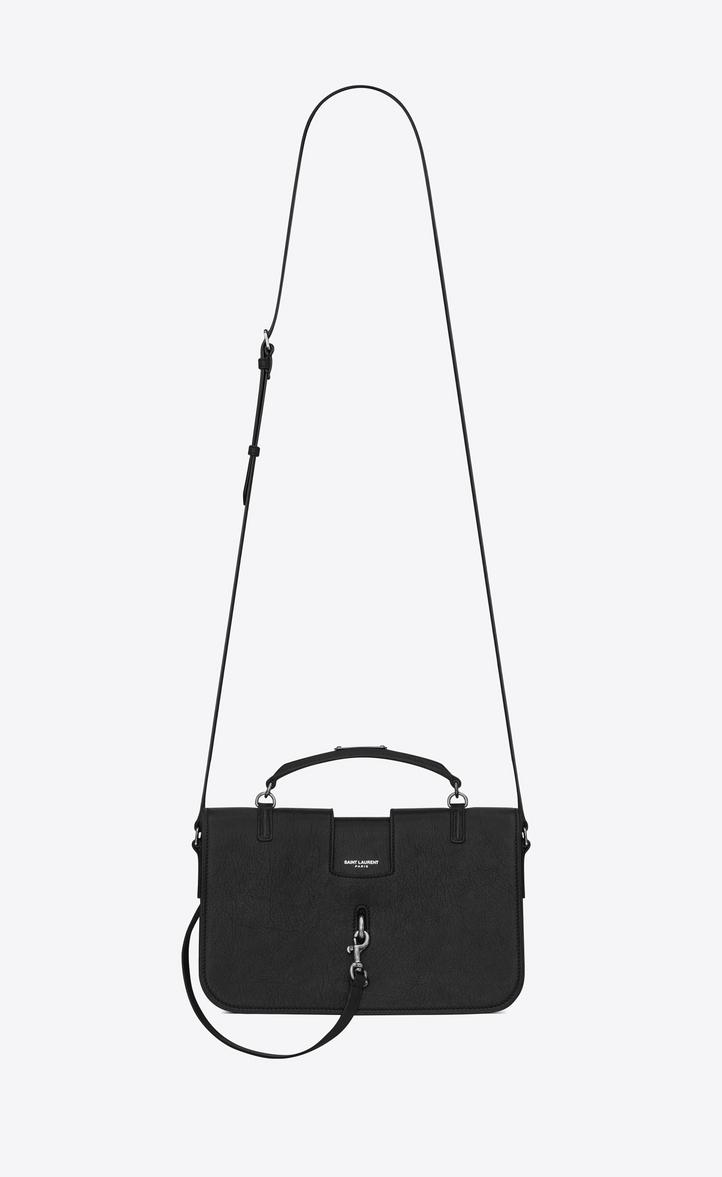 Medium Charlotte Messenger Bag In Black Leather Front View