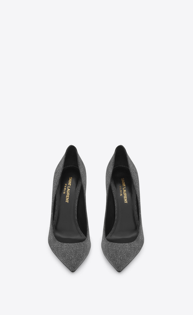 SAINT LAURENT Anja D ANJA 105 Pump in Washed Grey cotton b_V4