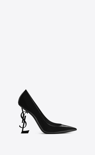 SAINT LAURENT YSL heels Woman opyum 110 pump in black patent leather and chrome a_V4