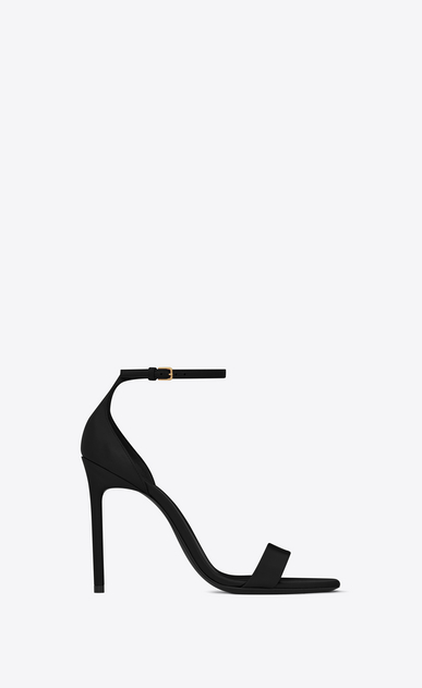 SAINT LAURENT Amber D Amber ankle strap 105 sandal in black leather a_V4