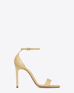 SAINT LAURENT Amber D Amber ankle strap 105 sandal in pale gold metallic leather f