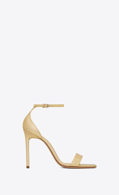 SAINT LAURENT Amber D Amber ankle strap 105 sandal in pale gold metallic leather v4