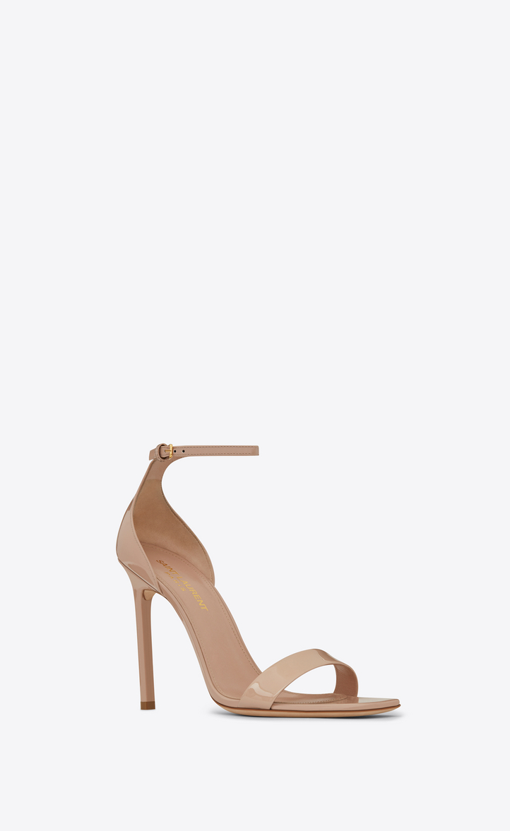 Saint Laurent Amber Ankle Strap 105 Sandal In Shell Patent