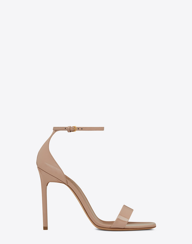 AMBER ANKLE STRAP 105 SANDAL IN SHELL PATENT LEATHER POWDER