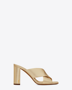 SAINT LAURENT Loulou D LOULOU 95 Mule Sandal in Pale Gold f
