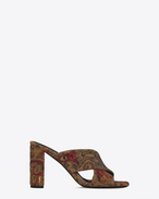 SAINT LAURENT Loulou D LOULOU 95 Mule Sandal in Saffron Red Marrakech Woven Fabric f