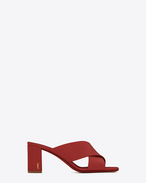 SAINT LAURENT Loulou D LOULOU 70 Mule Sandal in Red f