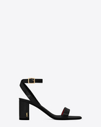 SAINT LAURENT Loulou D LOULOU 70 Ankle Strap Sandal in Black  f
