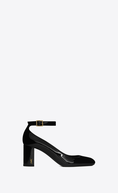 SAINT LAURENT Loulou D loulou 70 ankle strap pump in black patent leather a_V4