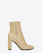 SAINT LAURENT Loulou D LOULOU 95 Zipped Ankle Boot in Pale Gold f