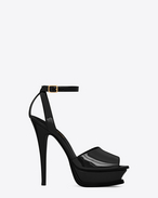 tribute 105 peep toe sandal in black patent leather