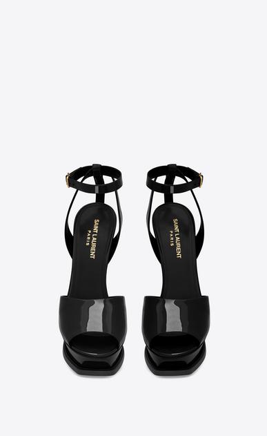 SAINT LAURENT Tribute D sandale à bout ouvert tribute 105 en cuir verni noir b_V4