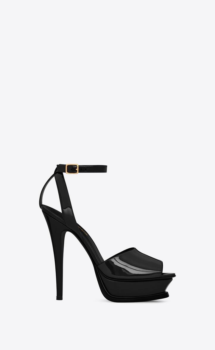 ed68d25b629f Saint Laurent Tribute 105 Peep Toe Sandal In Black Patent Leather ...