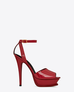 SAINT LAURENT Sandals D TRIBUTE 105 Peep Toe Sandal in Red calf-skin leather f