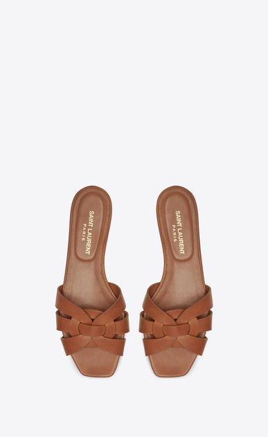 SAINT LAURENT Nu pieds Woman tribute flat sandal in smooth leather b_V4