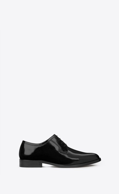 SAINT LAURENT Classic Masculine Shapes Woman MONTAIGNE 25 Derby Shoe in Black in leather a_V4