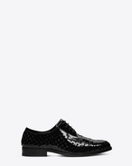 SAINT LAURENT Classic Masculine Shapes D MONTAIGNE 25 Derby Shoe in Black perforated patent leather f