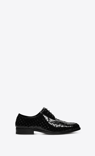 SAINT LAURENT Classic Masculine Shapes D MONTAIGNE 25 Derby Shoe in Black perforated patent leather v4