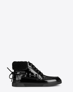 SAINT LAURENT Sneakers D Joe mid top boat sneaker in black patent leather f