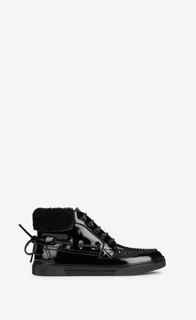 SAINT LAURENT Sneakers D Joe mid top boat sneaker in black patent leather a_V4
