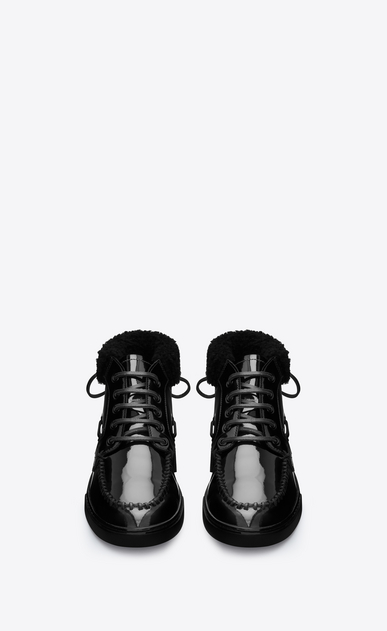 SAINT LAURENT Sneakers D Joe mid top boat sneaker in black patent leather b_V4