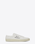 SAINT LAURENT SL/06 D COURT CLASSIC SL/06 sneakers embroidered with SAINT LAURENT, in white worn-look fabric and leather  f
