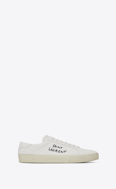 SAINT LAURENT SL/06 D COURT CLASSIC SL/06 sneakers embroidered with SAINT LAURENT, in white worn-look fabric and leather  a_V4