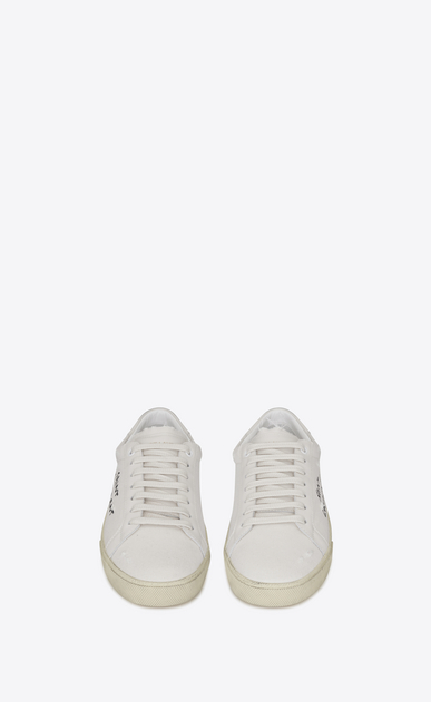 SAINT LAURENT SL/06 D COURT CLASSIC SL/06 sneakers embroidered with SAINT LAURENT, in white worn-look fabric and leather  b_V4