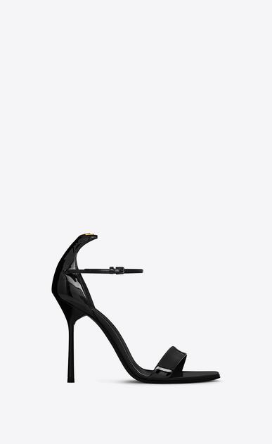 SAINT LAURENT Y D Y 105 Ankle Strap Sandal in Black and Gold v4