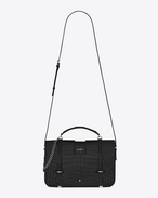 SAINT LAURENT Charlotte D Large CHARLOTTE Messenger Bag nera in coccodrillo stampato f