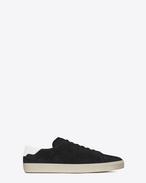 signature court classic sl/06 sneaker in black suede and off white leather