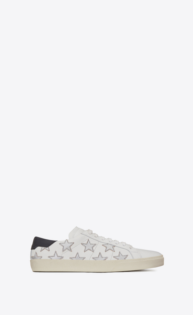 SAINT LAURENT SL/06 U signature california sneaker in white leather and silver metallic leather a_V4