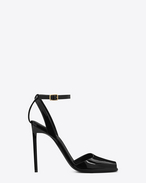 SAINT LAURENT Edie D edie 110 peep toe sandal in black patent leather f