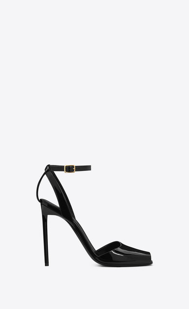 SAINT LAURENT Edie D edie 110 peep toe sandal in black patent leather a_V4