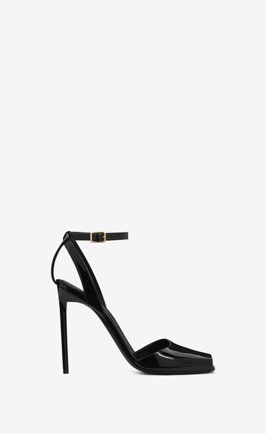 SAINT LAURENT Edie D edie 110 peep toe sandal in black patent leather v4