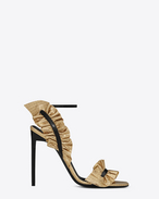 SAINT LAURENT Edie D EDIE 110 Leaf Slingback Sandal in Gold and Black f