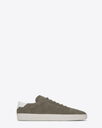 SAINT LAURENT SL/06 U signature court classic sl/06 sneaker in khaki suede and optic white leather f