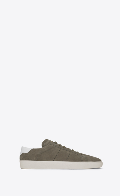 SAINT LAURENT SL/06 U signature court classic sl/06 sneaker in khaki suede and optic white leather a_V4
