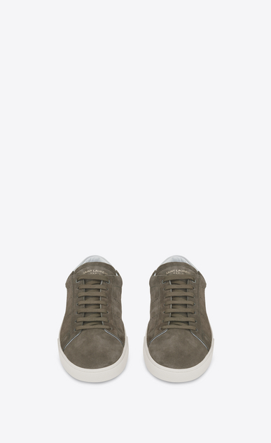 SAINT LAURENT SL/06 U signature court classic sl/06 sneaker in khaki suede and optic white leather b_V4