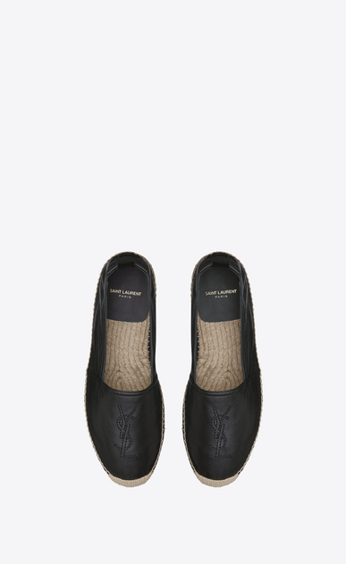 SAINT LAURENT Casual Shoes Homme espadrille en cuir noir b_V4