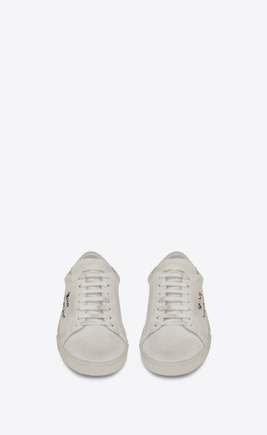 SAINT LAURENT SL/06 U COURT CLASSIC SL/06 sneakers embroidered with SAINT LAURENT, in white worn-look fabric and leather  b_V4
