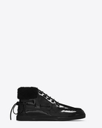 SAINT LAURENT High top sneakers U Joe mid top boat sneaker in black patent leather f
