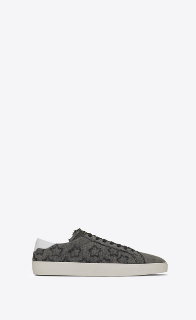 SAINT LAURENT SL/06 U signature court classic sl/06 california sneaker in washed grey cotton a_V4