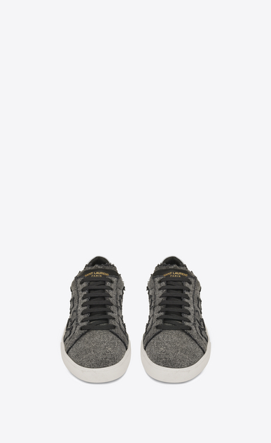 SAINT LAURENT SL/06 U signature court classic sl/06 california sneaker in washed grey cotton b_V4