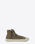 SAINT LAURENT High top sneakers U rivington mid top zip sneaker in military khaki canvas f