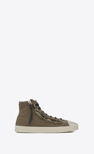 SAINT LAURENT High top sneakers U rivington mid top zip sneaker in military khaki canvas a_V4