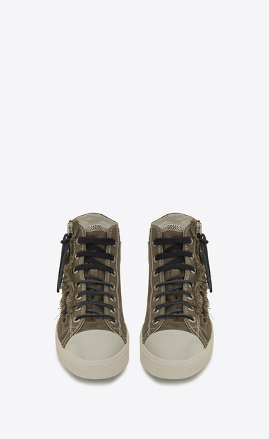 SAINT LAURENT High top sneakers U rivington mid top zip sneaker in military khaki canvas b_V4