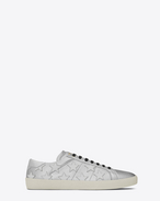 SAINT LAURENT SL/06 U Signature COURT CLASSIC SL/06 CALIFORNIA Sneaker in Silver and Optic White Leather f