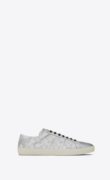 SAINT LAURENT SL/06 Man signature court sl/06 california sneaker in silver and optic white leather a_V4